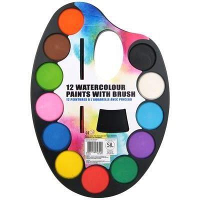 Palette Peinture À L'Eau 12 Couleurs Avec Pinceau - Achat / Vente