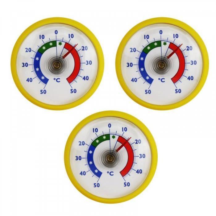 Ensemble 3 Pieces Bimetalliques Thermometre Adhesif Refrigerateur