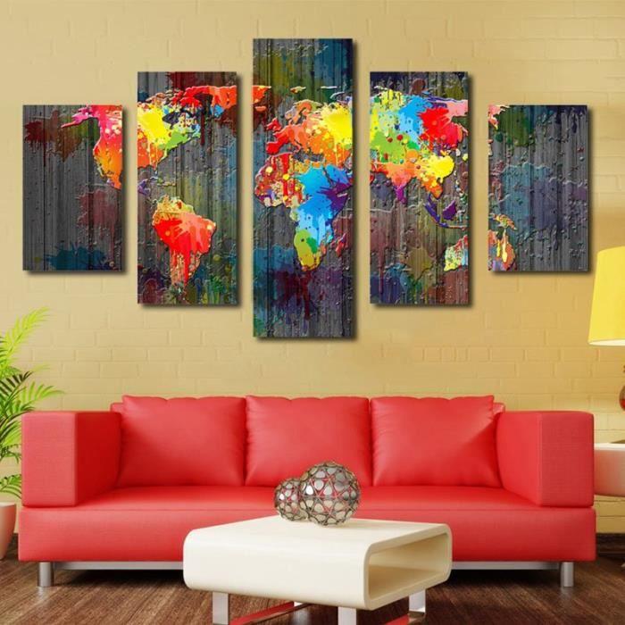 toile pour tableau multi panneaux mural 180cm 90cm carte du monde color e sans cadre achat. Black Bedroom Furniture Sets. Home Design Ideas