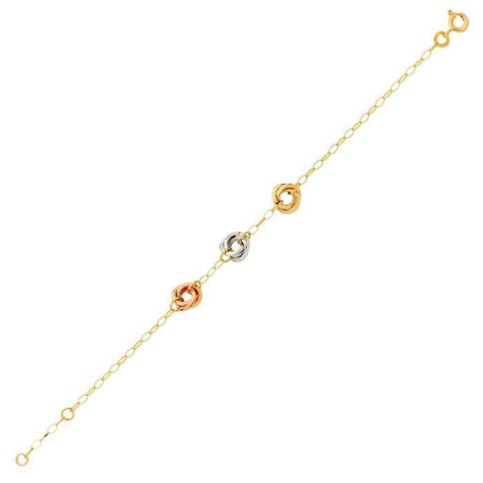 DIAMANTLY Bracelet noeuds or 375/1000° - 18.0 cm