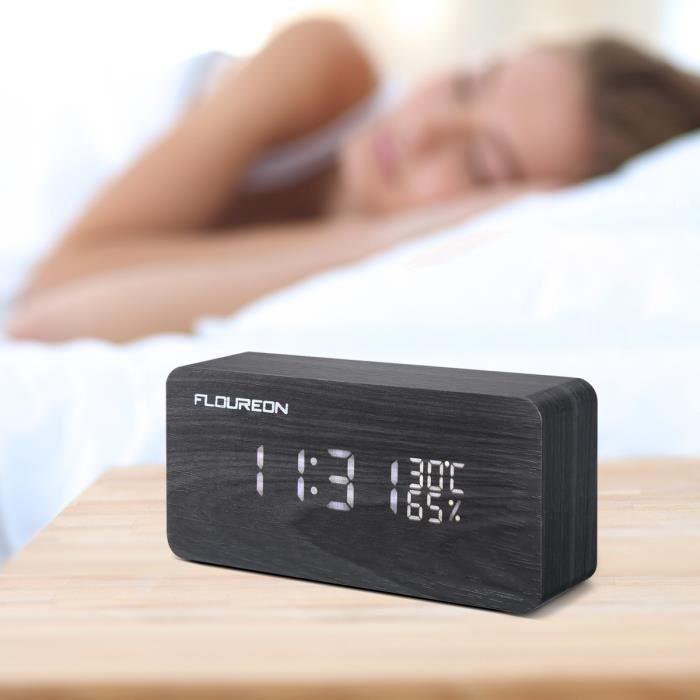 Floureon Réveil Led En Bois, Horloge Numérique Activation Sonore Avec Température /calendrier/ Luminosité Usb Prise/batterie (noir)