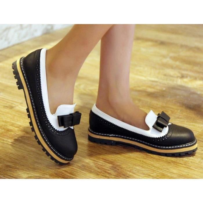 Couleur Chaussures bout rond plat pur de la fem...