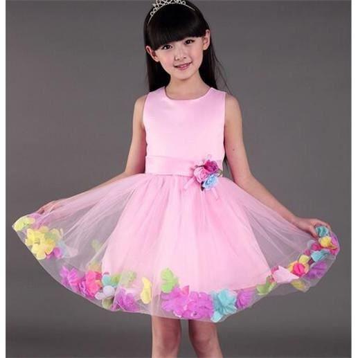 80f56206cd2 Enfant fille robe fête mousseline cérémonie fleurs bowknot princesse robe  rose