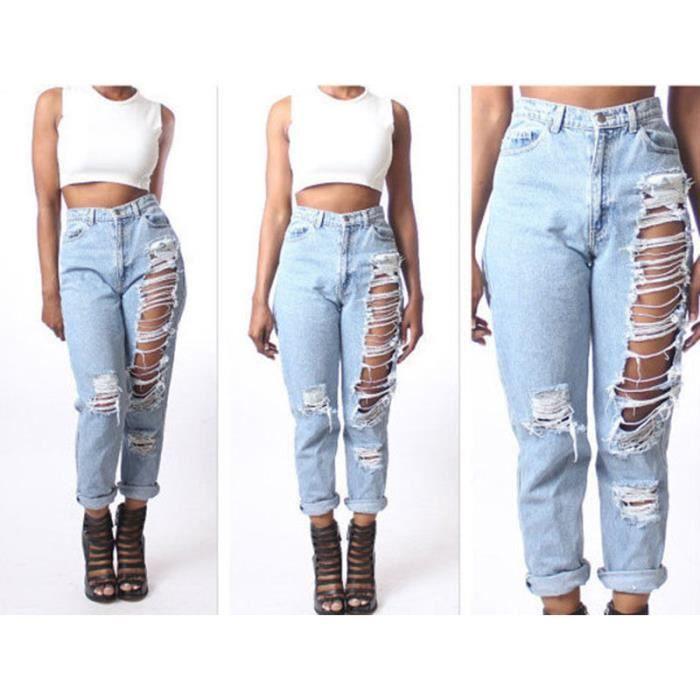 44addac1952a Pantalons Jeans Denim trou fine taille haute détruit déchiré Femmes ...