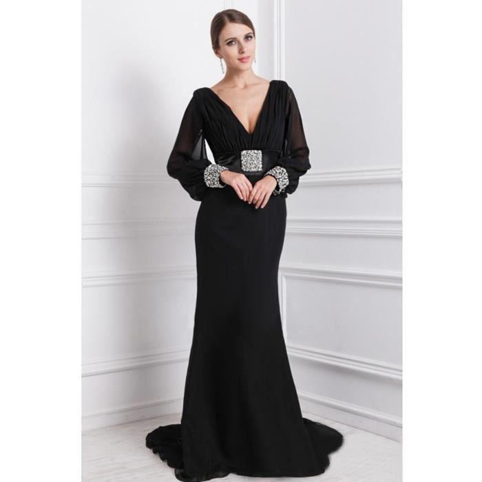 05f0c1379b8 Robe de soirée longue traîne de bal manche longue col V profond sirène  ceinture satin strass perle mousseline plissé élégante Noir