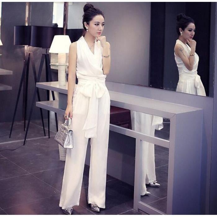 nouvelle arrivee sexy combinaison femme blanc couleur unie sans manches pantalons jambes larges. Black Bedroom Furniture Sets. Home Design Ideas