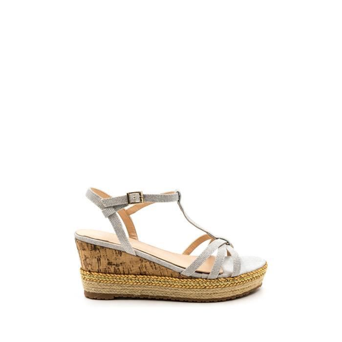 CHIC NANA . Sandale plateforme compensée en effet liège, semelle doublée de corde, attache brillant en argent 41