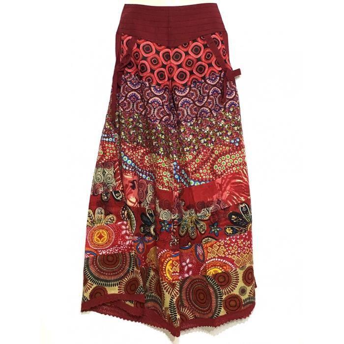 8f659dfbb76ea0 Chakina Pantalon Jupe Ethnique Rouge Coton Imprimé- Rouge Rouge ...