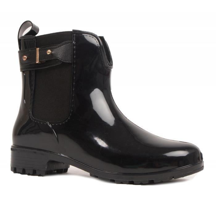 b710518e518 Bottines caoutchouc noir pour femme type bottes de pluie-41 Noir ...