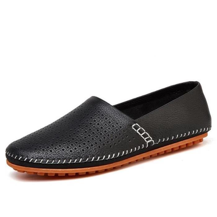Antidérapant véritable à Luxe mode 2017 la ete Cuir Léger Poids Grande chaussures homme Respirant Taille Moccasin q0O0Y1