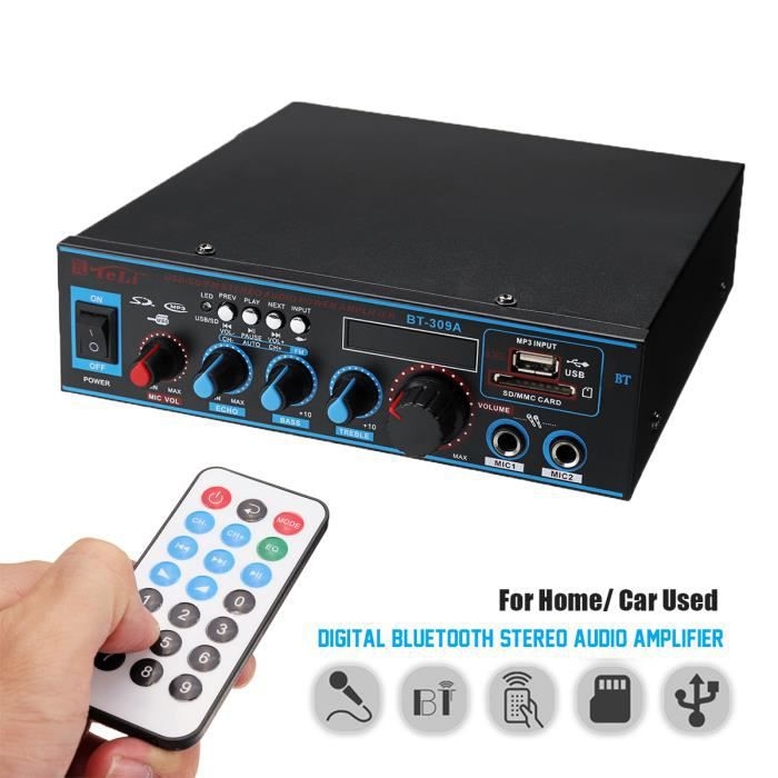 Neufu Bluetooth Amplificateur Stéréo 12v/220v Fm Usb Sd Mp3 Audio Lecteur - Ampli Hi-fi Maison Voiture Auto