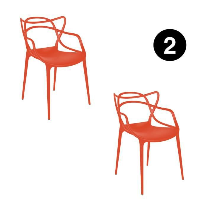 De – Trends Chaises 2 Starck Inspirée Lot Miami– Masters For Rouge gy7fb6