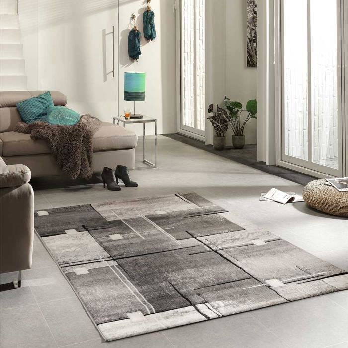 tapis de salon moderne nova gris 120x170 par unamourdetapis tapis moderne 120 x 170 cm gris. Black Bedroom Furniture Sets. Home Design Ideas