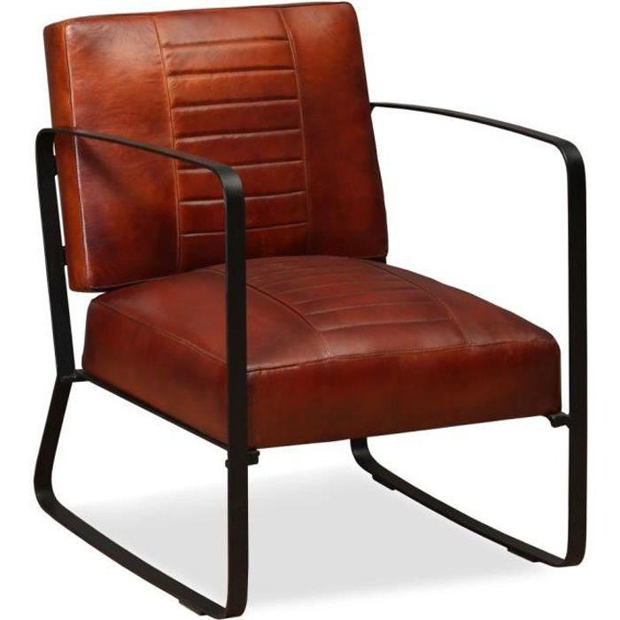 Fauteuil de salon en cuir véritable Marron - Achat / Vente fauteuil ...
