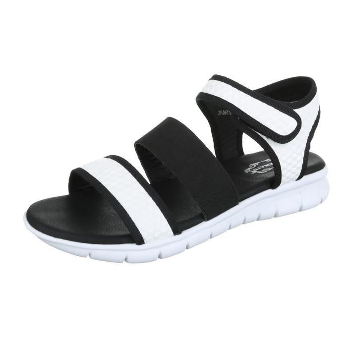 femme sandale chaussure chaussures d'été chaussures de plage fermeture velcro blanc noir