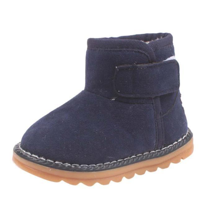Bébé bambins enfants bottes garçon enfant hiver bottes de neige épaisses chaussures de fourrure mrine QX5ADYI