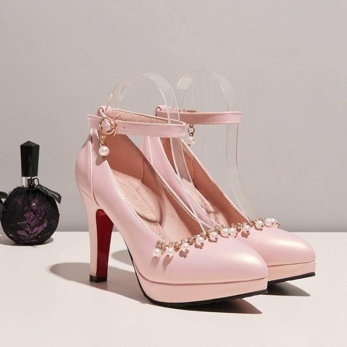 Chaussures Femme Nouvelle Mode Sexy Perle StrassConfortable Bride Plateforme Epais Lacets Pointue Club Soiree Cheville