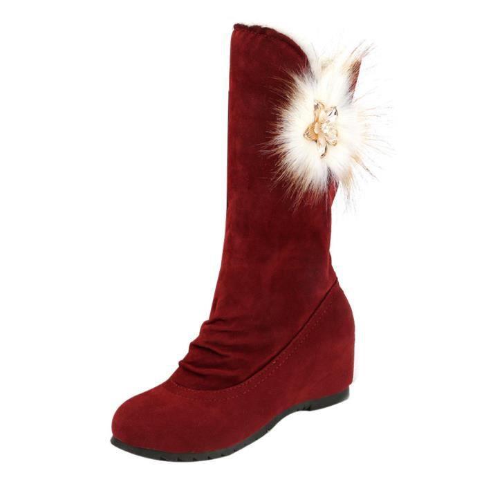 Bottes d'hiver Bottes d'hiver Bottes mi-mollet chaud chaussures d'hiver Du vin WE871