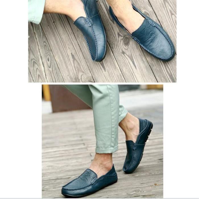 Mocassins Hommes Cuir Printemps Ete Leger Mode Plat Chaussures JXG-XZ078Bleu40 v7aVf
