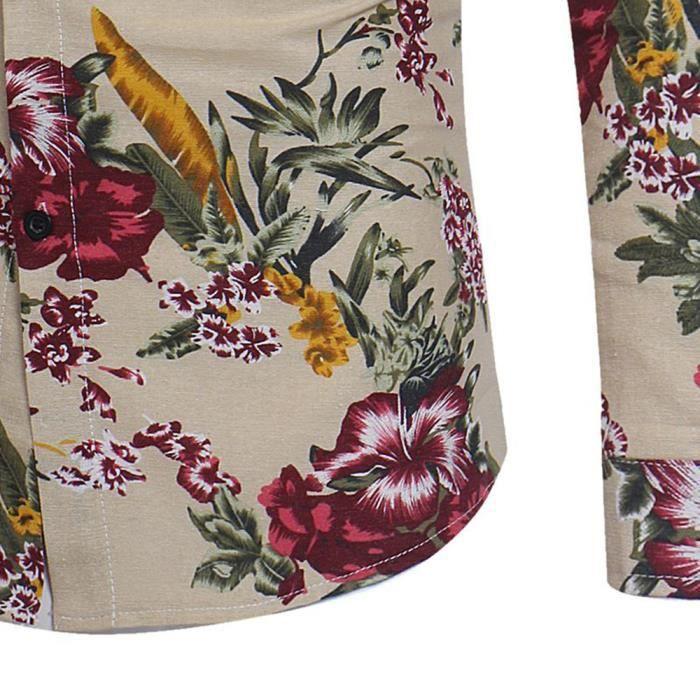 Chemise à manches longues T-shirt basique imprimé floral à manches longues pour hommes