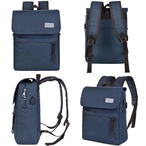 Hommes Canvas Laptop Backpack avec câble USB, Bleu Gris