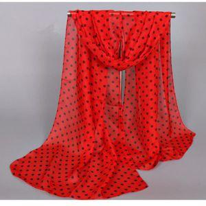 4e2b9b497d7 ECHARPE - FOULARD Foulard Femme Mousseline Rouge à Pois Noirs