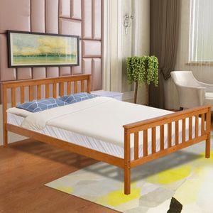 Lit double bois achat vente pas cher - Cadre de lit en bois massif ...