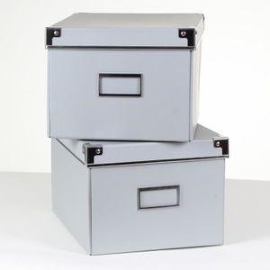 BOITE DE RANGEMENT Lot de 2 boîtes carton grises + métal Gris Clair