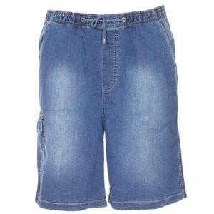 BERMUDA Jeans bermuda élastiqué délavé grande taille Abrax