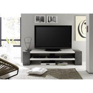 MEUBLE TV Meuble TV décor béton coloris laqué blanc mat - L1