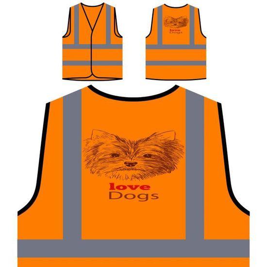 Dog Visibilité Personnal Haute Protection Terrier Personnalisée Novelty À De yorkshire Veste Love Orange SwYqUv6Z