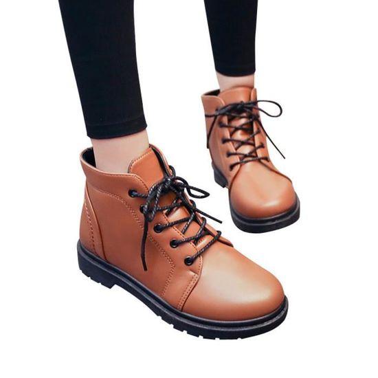 Deessesale@Mode étudiant Chaussures à talon épais Martin Bottes Chaussures femmes épais Bottes courtes WY3051 Marron Marron - Achat / Vente botte