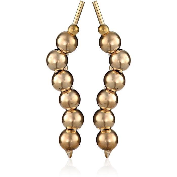 10k Yellow Gold Polished Beads Earrings WNOU9