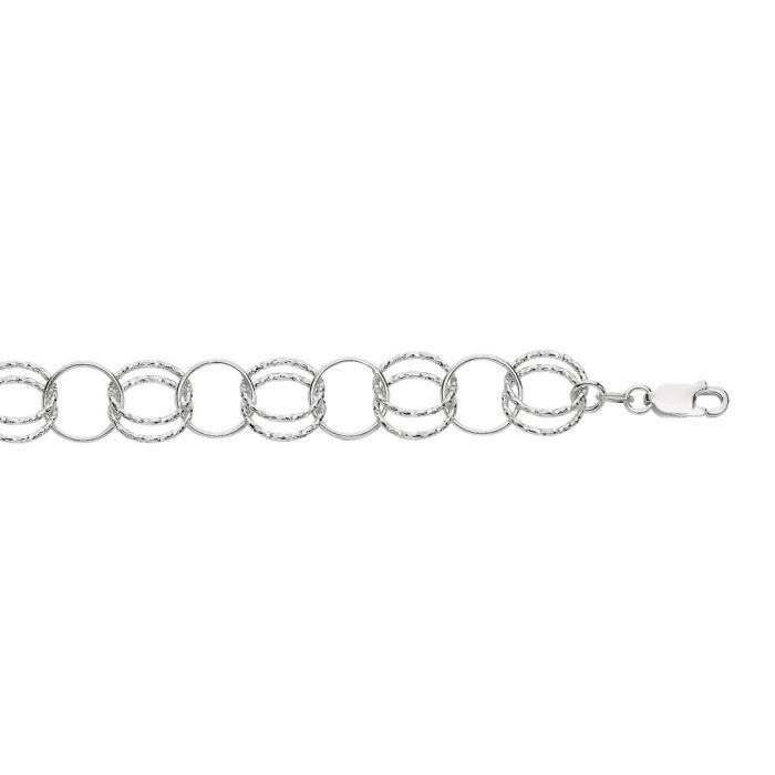 Rhodium argent Sterling plaqué Bracelet de 18,4 -