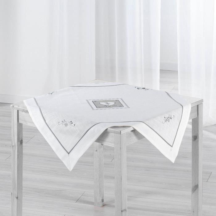 nappe carr e 85x85 brod e amandine blanc achat vente nappe de table cdiscount. Black Bedroom Furniture Sets. Home Design Ideas