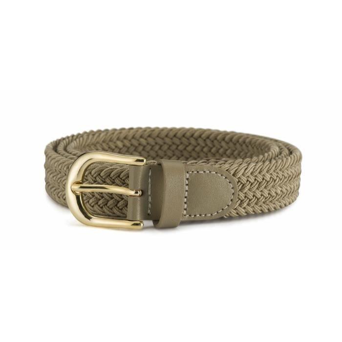Streeze ceinture élastique pour femmes. 5 tailles. Extensible et tressée.  25 mm de largeur avec boucle en or (Beige, M) e700bc0ea90