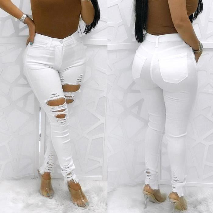 a1f3e7dee9 Jean blanc taille haute - Achat / Vente pas cher