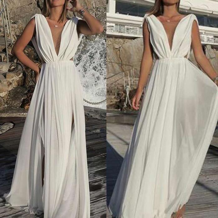 3caabb54f782db Les femmes sexy en mousseline de soie Robe blanche col V profond Boho  longue fête élégante robe blanc