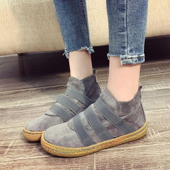 Banconre®Les femmes haut aident les chaussures simples plat douces de cheville de plat simples les bottes à lacets en daim femelles@Gris Gris Gris - Achat / Vente botte 502482