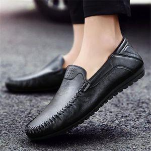 Mocassins en cuir British Fashion en cuir homme Mode Pointu Toe mariage Hommes Homme Chaussures Flats Robe,noir,41,5338_5338