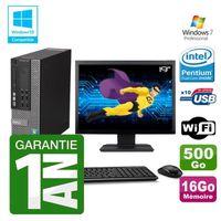 UNITÉ CENTRALE + ÉCRAN PC Dell 790 SFF Intel G640 RAM 16Go Disque Dur 500