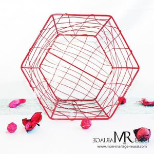 DÉCORATION DE TABLE 1 Pcs corbeille, panier métalique rouge centre de