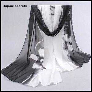 9ed9dce5ebec ECHARPE - FOULARD écharpe foulard soie orchidée blanc noir