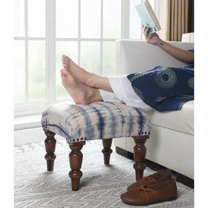 TABOURET Repose-pieds carré en bois d'ottoman avec du tissu