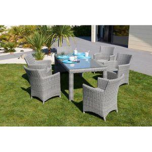 Ensemble De Jardin ELEGANCE Table Avec 6 Chaises Rsine Tresse