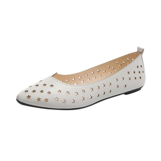 Femmes Femmes Slip On Sandales plates Chaussures Casual solides Chaussures mode Mocassins étoiles@blanc Blanc Blanc - Achat / Vente slip-on