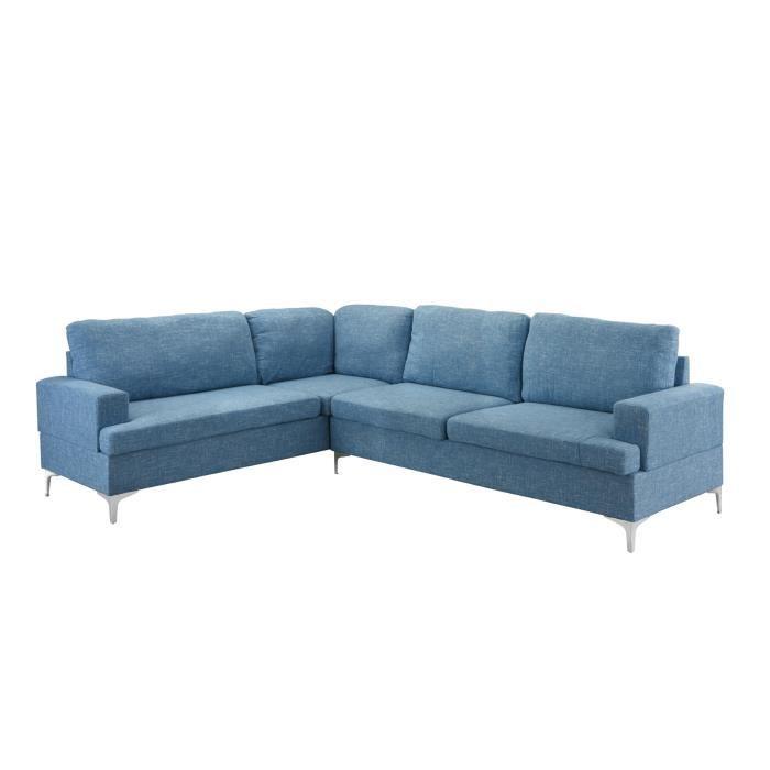Canape D Angle Large.Abi Canape D Angle Moderne Et Large Xl Tissu Coloris Bleu Clair
