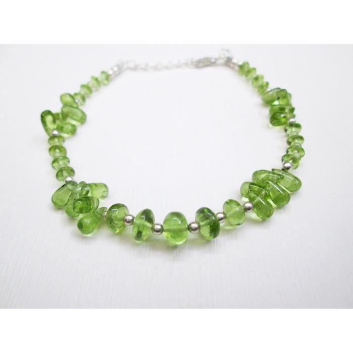 Bracelet Péridot Perles vert naturel féminin avec 925 argent Perles et fermoir 6.50 Bijoux de pierres précieuses TK4ZF