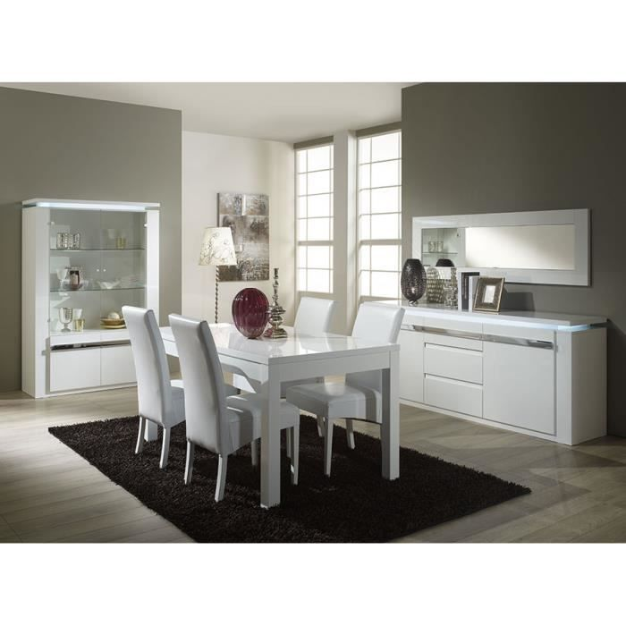 Salle manger compl te blanc laqu design alice l 160 cm for Achat salle a manger complete
