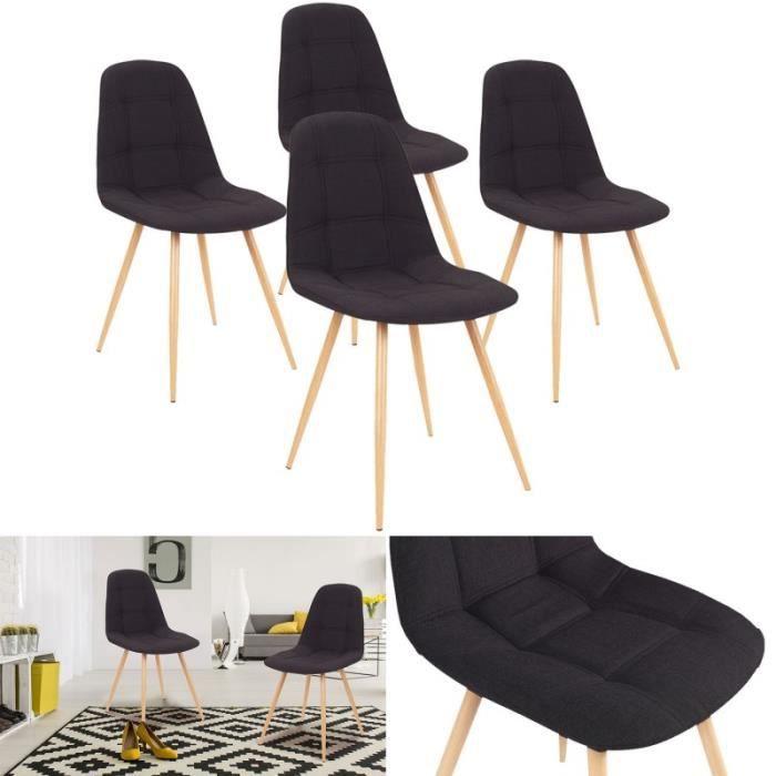 chaises x4 verane capitonn es tissu noir pour salle manger achat vente chaise noir cdiscount. Black Bedroom Furniture Sets. Home Design Ideas